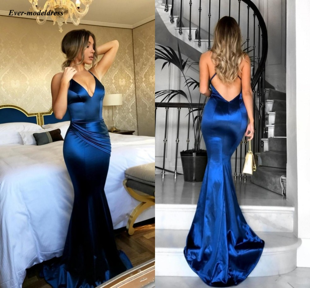 Royal Blue Mermaid   Bridesmaid     Dresses   2019 V Neck Open Back Sweep Train Modest Maid of Honor   Dress   Wedding Guest Party Gowns