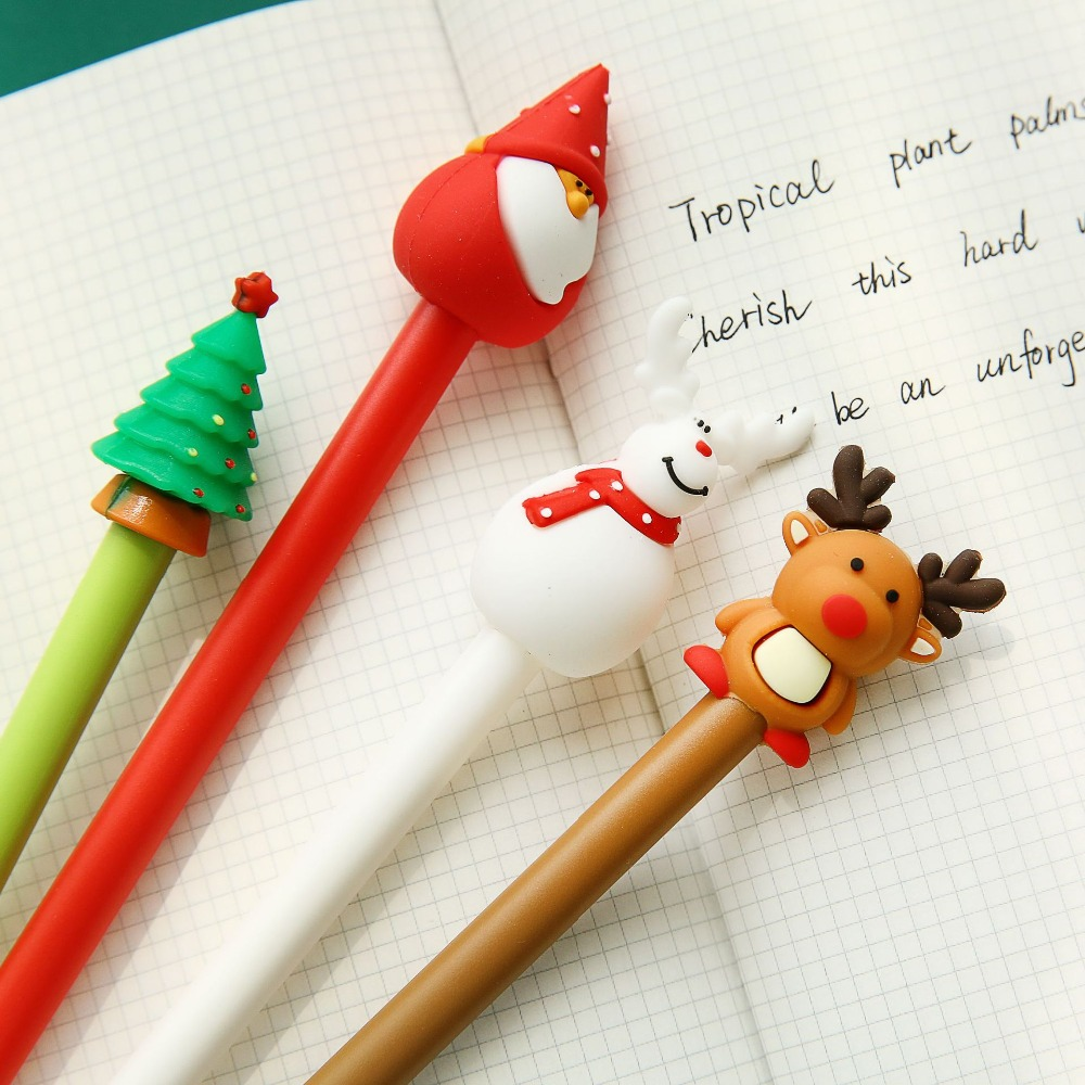4 pcs Christmas gel ink pen 0 5mm Black color pens for writing Santa Claus Tree Elk Stationery Office School Party supplies F042 in Gel Pens from Office School Supplies