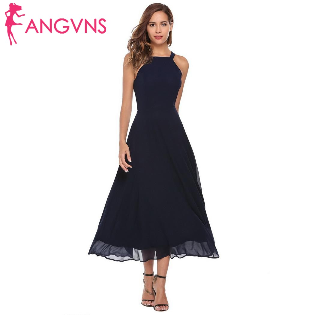 ANGVNS Frauen Formal Dress Lace up Sexy Spaghetti Strap Backless ...