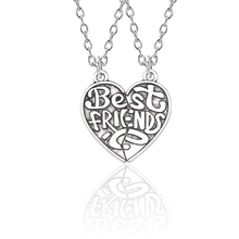 Best Friends 2 Piece Set Retro Puzzle Heart Pendant All The Way With Your Necklace BFF Friendship Jewelry Men And Women Gifts trouble showed the way – women men