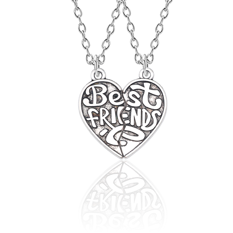 Best Friends 2 Piece Set Retro Puzzle Heart Pendant All The Way With Your Necklace BFF Friendship Jewelry Men And Women Gifts image