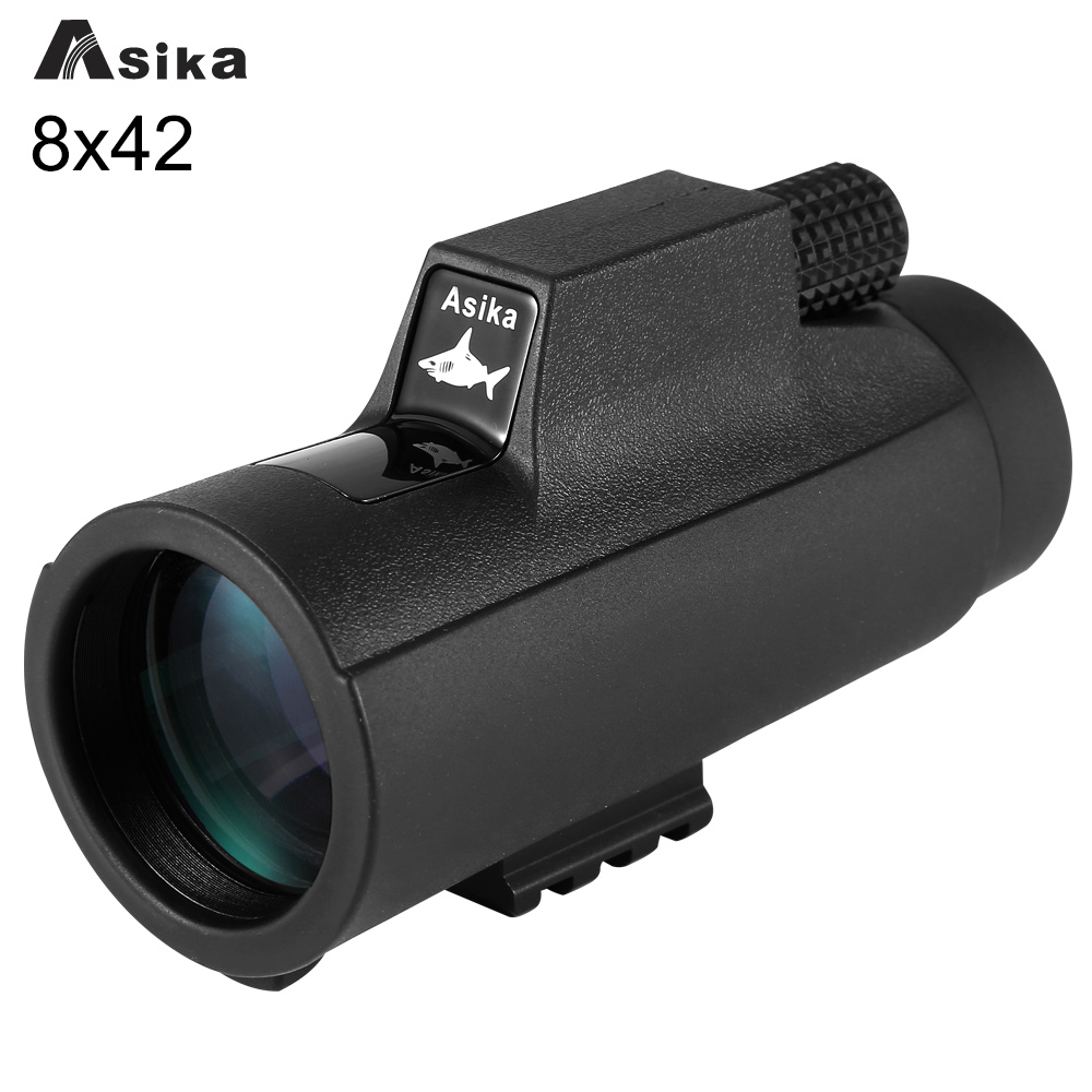 Telescope Monocular 8x Black Asika 8X42 Bak4 Prism for Camping Telescope Focuser Monocular Waterproof Hunting монокуляр celestron oceana 8x42 monocular