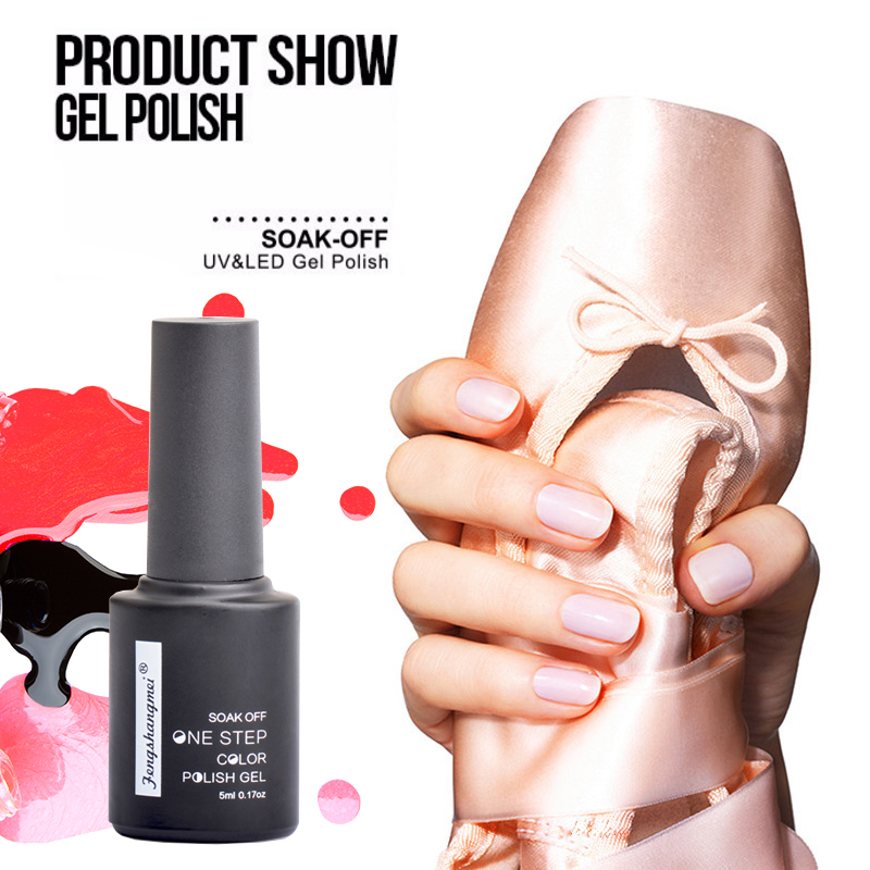 Fengshangmei 5ml Manicure Gel Polonês Soak Off Gel para Unhas Led UV One Step Verniz Para Unhas de Gel