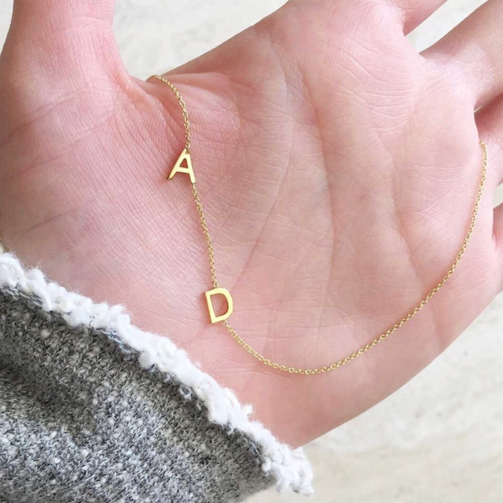 Cute Double Letters Necklace Stainless Steel Jewelry Personalized Mini Two Initials Custom Chain Necklace Collares De Moda 2019