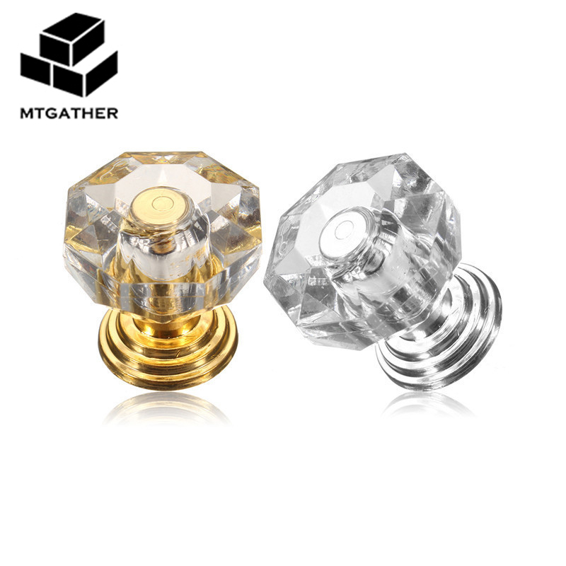 MTGATHER18mm Crystal Clear Crystal Glass Door Pull Drawer Cabinet Furniture Handle Knob Screw Hot Worldwide clear crystal glass cabinet knob door knob crystal knob