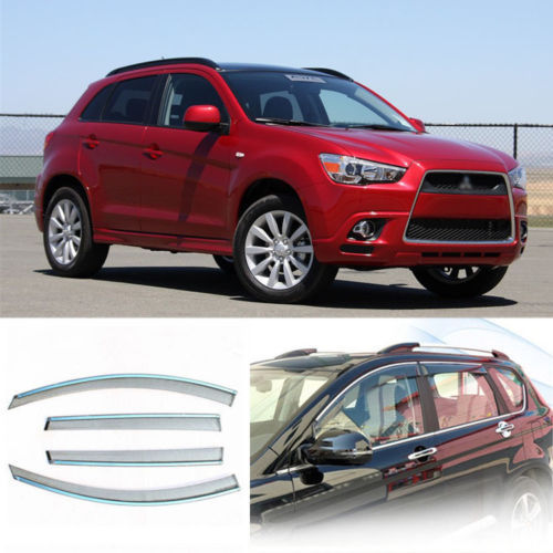 4pcs New Smoked Clear Window Vent Shade Visor Wind Deflectors For Mitsubishi ASX