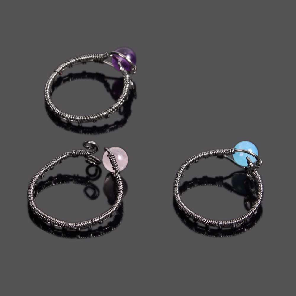Vintage ดอกไม้สีดำกลมลูกปัดทำด้วยมือห่อ Cuff แหวนธรรมชาติ Agates ควอตซ์หินแหวนปรับ