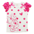 2015 New Arrival 3-9y Girls T Shirts Cartoon Used Pearl Kids Short Sleeves Tshirts Minnie Girls Cotton Children Tees Tops Retail