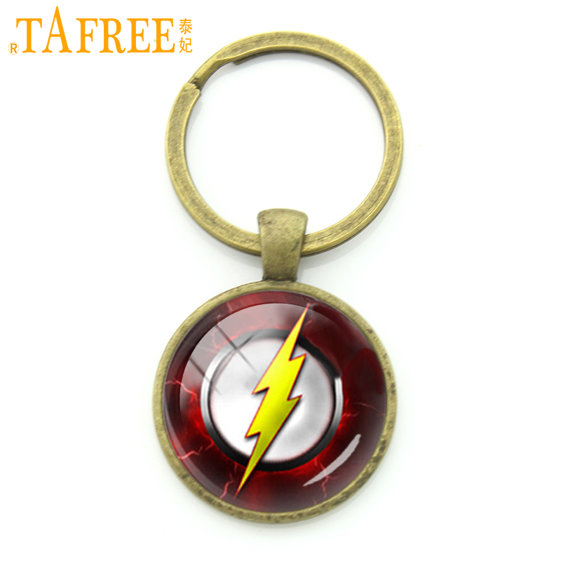 Tafree Мода Super Hero серии Jewelry золотая молния цепочка для ключей кольцо Super Hero флэш молния логотип мужчины брелок kc173