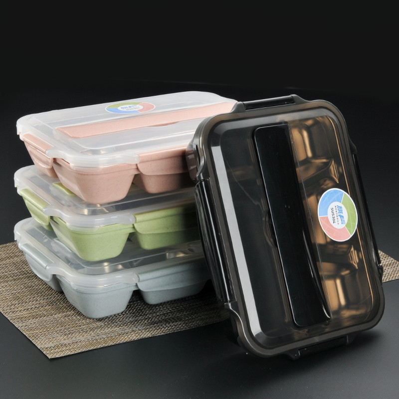 2018 School Lunch Containers 5 Compartments Box Lunch Bento 4 Colors Stainless Steel Containers for Food Storage Drop Shipping