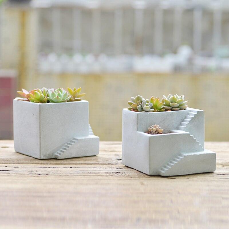Creative escaliers ciment plantes succulentes silicone moule d'argile artisanat décoration de la maison de construction en béton planteur vase moules