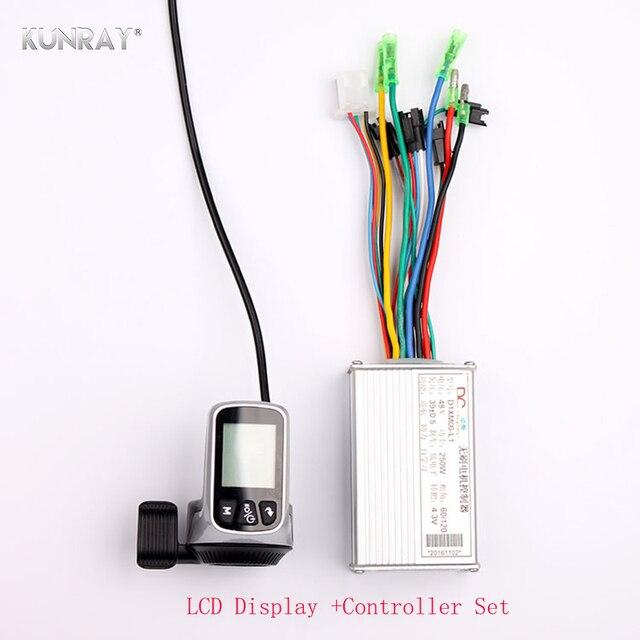 WUXING литиевая батарея бесщеточный электровелосипед контроллер 24 В -В 48 в 250 Вт-350 Вт Thumb дроссельной заслонки ЖК-дисплей Dispaly 2 в 1 E велосипед часть