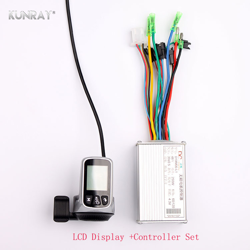 WUXING Lithium Battery Brushless Electric Bicycle Controller 24V - 48V 250W - 350W Thumb Throttle LCD Dispaly 2 in 1 E bike Part bafang ebike thumb throttle 36v 48v 72v finger thumb throttle e bike speed throttles electric bicycle hub drive motor parts