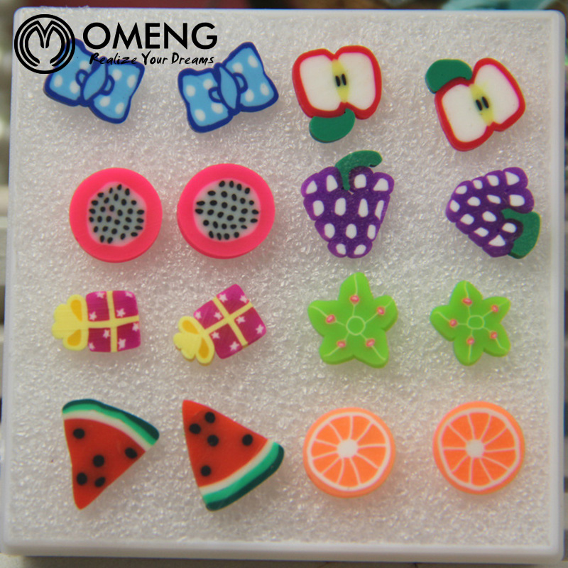 OMENG New assorted Polymer Clay earring Handmade Polymer Clay Fruits cartoon Earrings Girls Children 8 pair/set