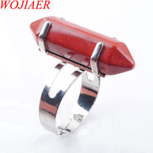 WOJIAER Unique Ring for Women Natural Stone Round Beads Casual Finger Rings River Jasper Silver Color Party Jewelry 1P PX3018(China)