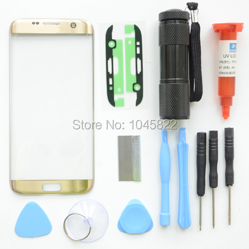 Золото Подлинная Передняя Экран Сенсорный Экран Внешний Стеклянный Объектив ремонт комплект Для Samsung Galaxy S7 Edge G9350 G935F + УФ Факел + Стикер