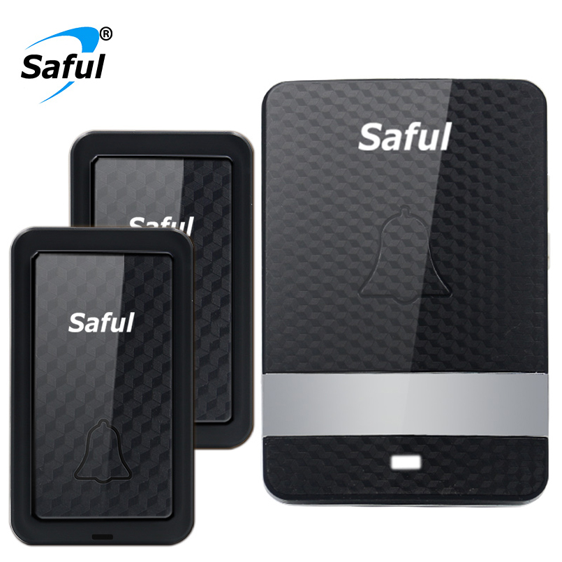 Saful No Need Battery Waterproof Wireless Doorbell Led Light Electrical Door Bell with 2 Outdoor Transmitter+1 Indoor Receiver new restaurant equipment wireless buzzer calling system 25pcs table bell with 4 waiter pager receiver
