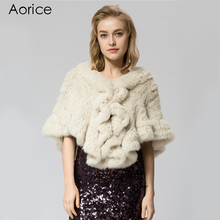 SRR006-5 Knitted real  rabbit  Fur Shawl poncho stole shrug cape gown tippet wrap girls's winter hotter