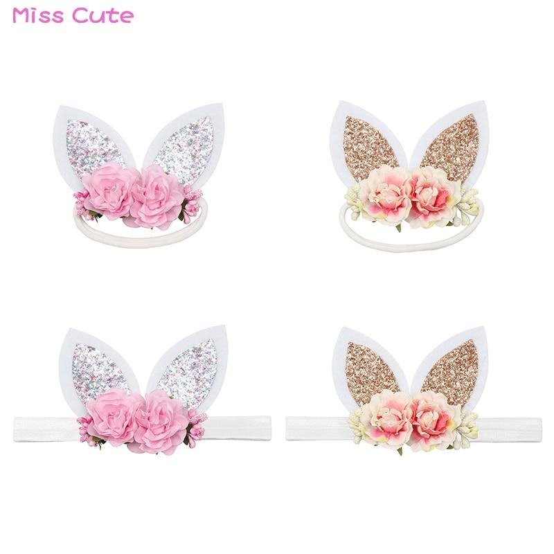 Baby Girl Kid Rabbit Bunny Cat Ear Flower Headband Birthday Party Hair Accessory