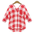 MIOIM M-5XL Fashion Casual Plaid Shirt Women Loose Blouse Cotton Shirt Leisure Red And White Women clothes vetement femme NO