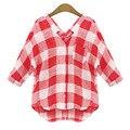 MIOIM M-5XL Moda Casual Xadrez Camisa Mulheres Blusa Solta Camisa de Algodão Lazer Mulheres Vermelhas E Brancas roupas vetement femme NÃO