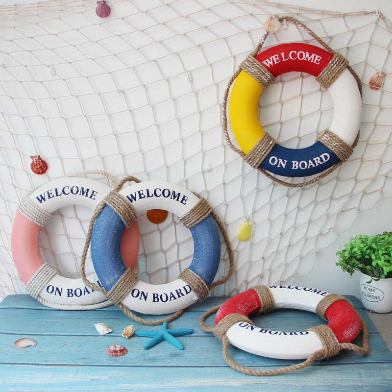 Mediterranean Style Welcome Aboard Decor Life Buoy Home Marine Beach Decor
