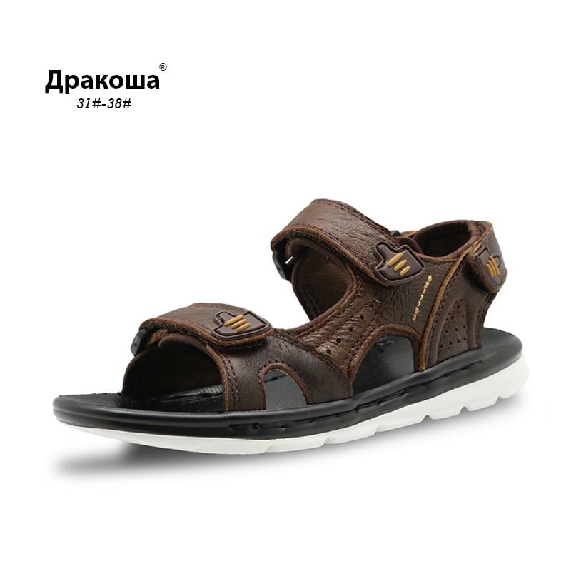Apakowa Kids Summer Boys Sandals Genuine Leather Quality Boys Beach Sandals Cowhide Causal Kids Shoes