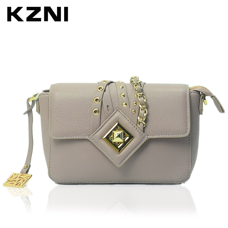 KZNI Women Lock Handbags Genuine Leather Cowhide Clutch Messenger Bags Female Classic Flap Bag Small Clutch Sac a Main 1401