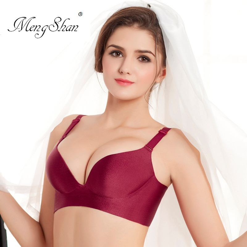 MengShan Cross drawing Womens underwear Seamless gathering Sexy adjustment Ladys Bra Classic fashion small chest and big chest