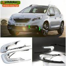 eeMrke Car LED DRL For Peugeot 2008 2013 High Power White DRL Fog Cover Daytime Running Lights Kits