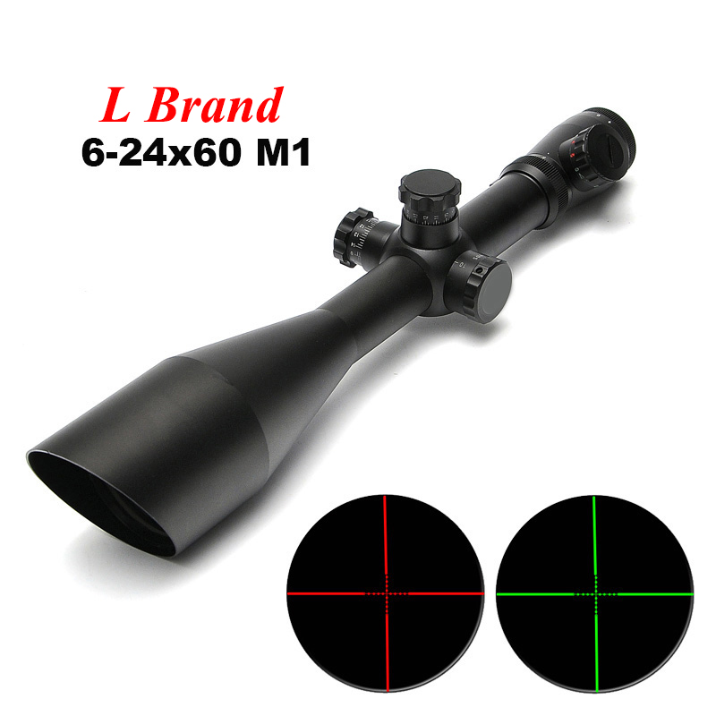L Brand M1 6-24x60 AO Tactical Outdoor Hunting Optics Scope Illuminated Red and Green Mildot Side Wheel Riflescope ikf6850 ao lb1 l