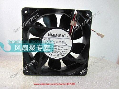 NMB-MAT 4715SL-05W-B69, U01 DC 24V 1.2A, 120x120x38mm Server Square fan nmb mat 5915pc 12t b30 a00 dc 115v 35a 2 piece 150x172x38mm server round fan