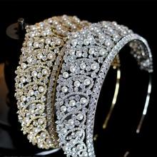 2019 lujo cristal nuevos accesorios para el cabello de boda para novia con perla corona/tocado accesorios de vestido de novia