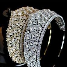 Accessoires de cheveux de luxe en cristal de mariée, couronne de perles/accessoires pour coiffure de mariage, nouvelle collection 2019