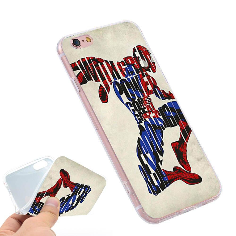 <font><b>Spiderman</b></font> <font><b>Art</b></font> Typography Clear Soft TPU Slim Silicon Phone <font><b>Case</b></font> Cover for <font><b>iPhone</b></font> 4 4S 5C 5 SE 5S 7 6 6S Plus 4.7 5.5 inch