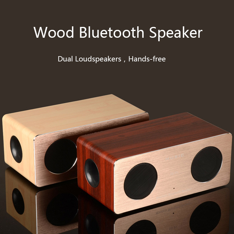 High Quality Dual Loudspeakers Wooden Bluetooth Speaker support Hands free Wood Box Aluminum Panel Portable Wireless Speakers