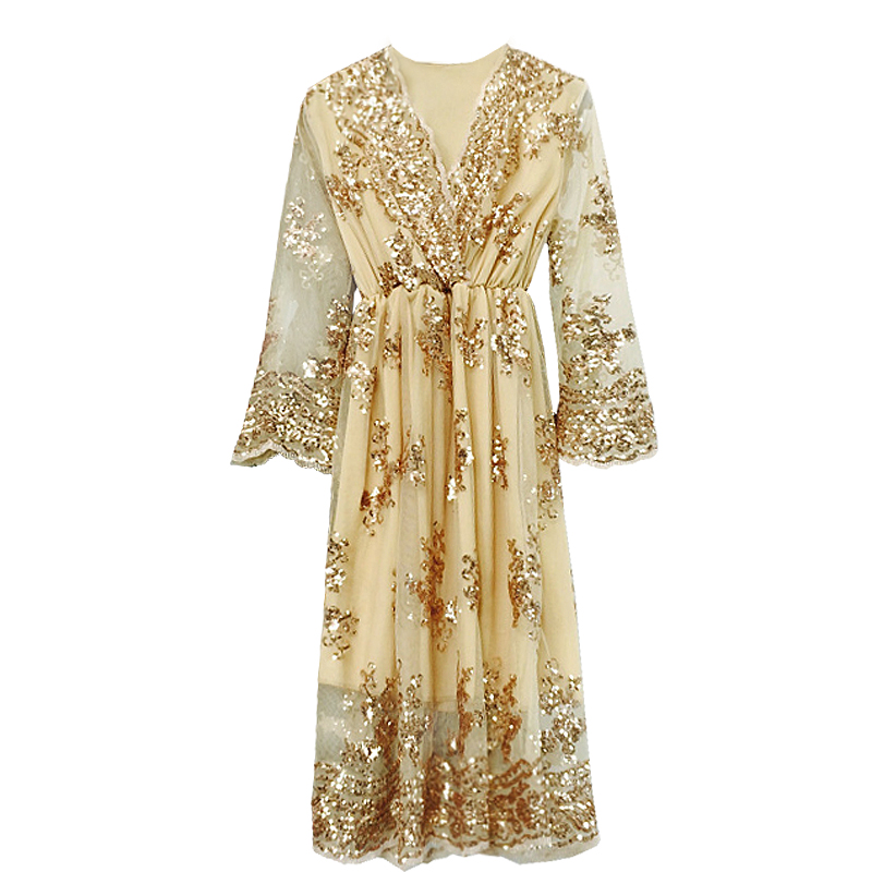 Spring Summer Sexy V-neck Embroidery Squined Bling Bling Party Dress Women Medium Long Stylish Dress 6