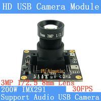 PU`Aimetis SONY IMX291 star level Surveillance camera 3MP 8mm 1920*1080P 30FPS Linux UVC 2MP USB Camera Module Support audio