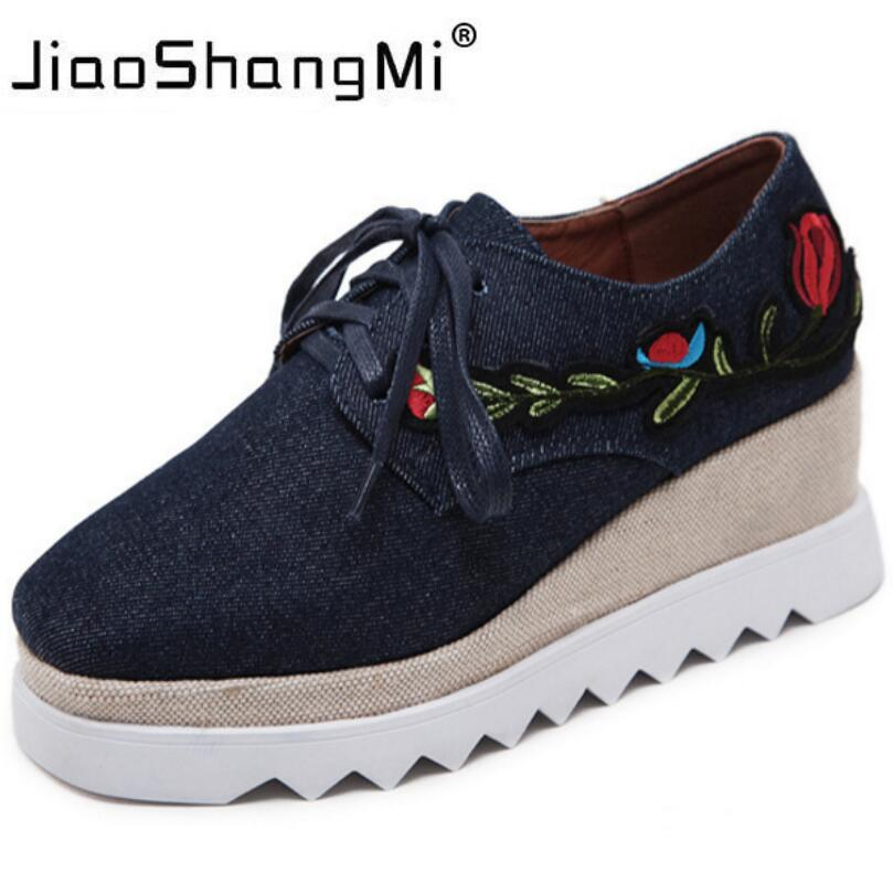 Brand Embroider Flat Platform Shoes Woman Denim Round Toe Lace-Up Platform Oxford Shoes Women Sneakers Autumn Fashion creepers mcckle 2017 fashion woman shoes flat women platform round toe lace up ladies office black casual comfortable spring