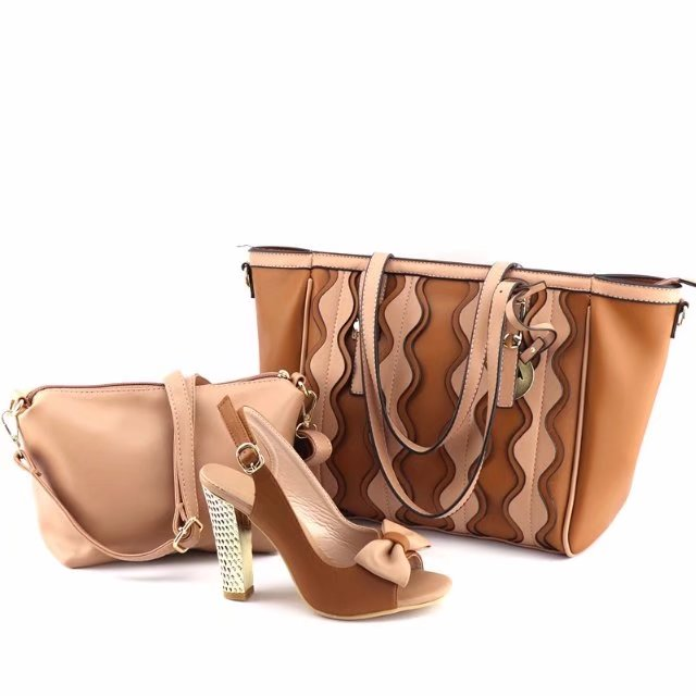 African aso ebi shoes and bag set brown color high heel sandal shoes with  matching big shoulder bag for shopping SB8123-1 3dc667bbccfb