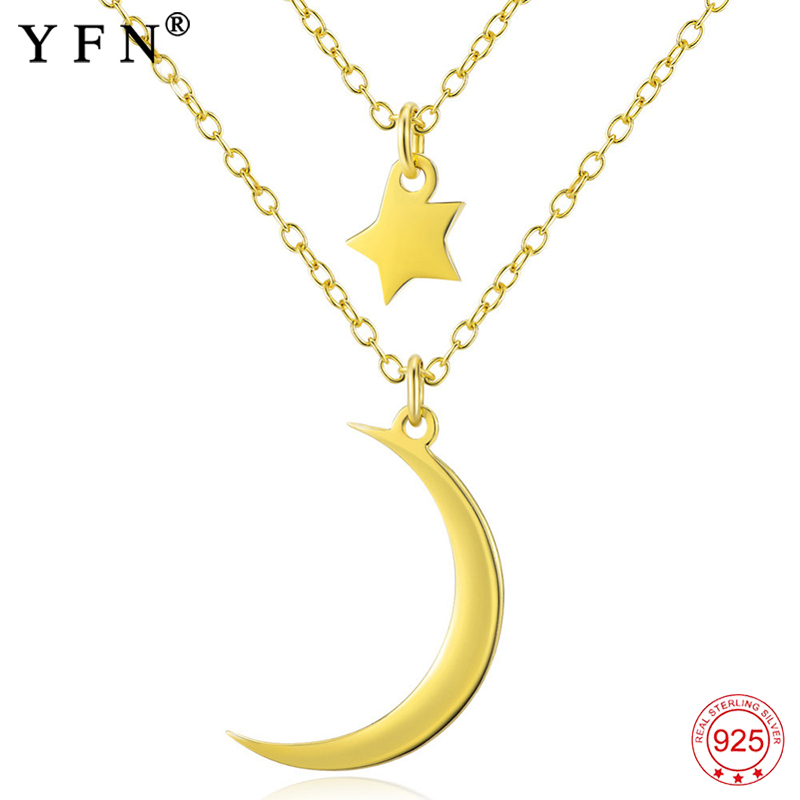 Genuine 925 Sterling Silver Necklace Women Double Layer Chain Necklaces with Moon and Star Charms Choker Gold Necklace GNX0488
