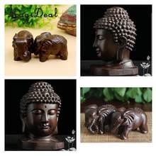 Homyl drewniany budda statua indie Buddist głowa statua rzemieślnicze Ornament Decor 3 ''środki
