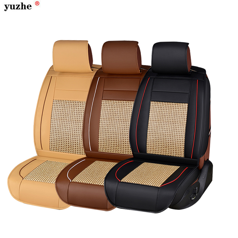 Yuzhe PU Leather Auto Universal Car Seat Covers Automotive Seat Covers for toyota lada kalina granta priora renault logan ouzhi for lada granta largus priora kalina pu leather weave ventilate front