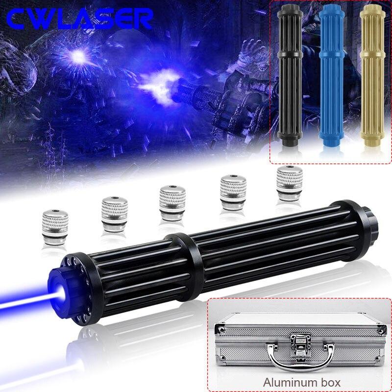 CWLASER самая мощная горящая Лазерная Военная Лазерная 450нм фокусируемая Gatling Plus Синяя лазерная указка с роскошным чехлом (3 цвета)