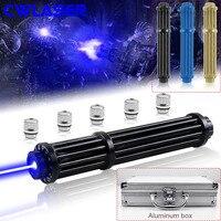 CWLASER ส่วนใหญ่ที่มีประสิทธิภาพเลเซอร์ทหาร Laser 450nm โฟกัส Gatling Plus ตัวชี้เลเซอร์สีฟ้าหรูหรากรณี (3 สี)