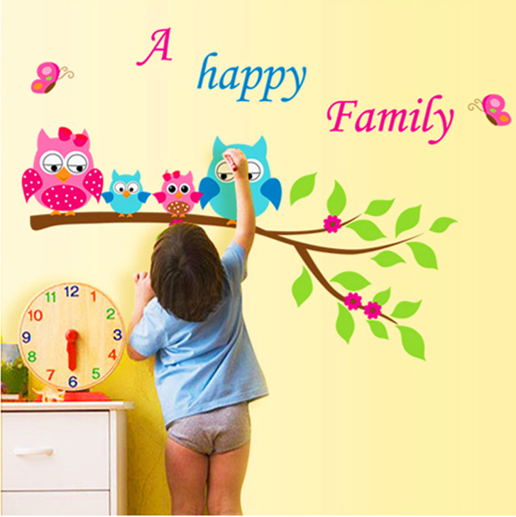 1 piece cute cartoon owl wall sticker wallhappy familyart diy removable vinyl decals for babykids bedroom home decor in wall stickers from home garden