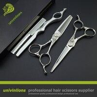 6 hairdressing japanese scissors engraved scissors hair sissors haircut hot shears barber kit professional pro hair clippers