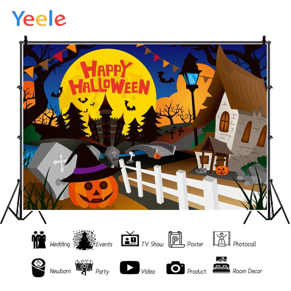 Yeele Halloween Party Night Moon Castle Tomb Pumpkin Photography Backdrop Personalized Photographic Backgrounds For Photo Studio in Background from Consumer Electronics