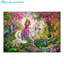 Unicorn Princess portrait Moge Diamond Painting Full Round cartoon animal scenic New DIY Sticking Drill Cross Embroidery 5D