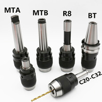1pcs MT2 MT3 MT4 C20 C25 C32 R8 APU13 APU16 milling machine tool holder, one piece Mohs self tightening drill chuck